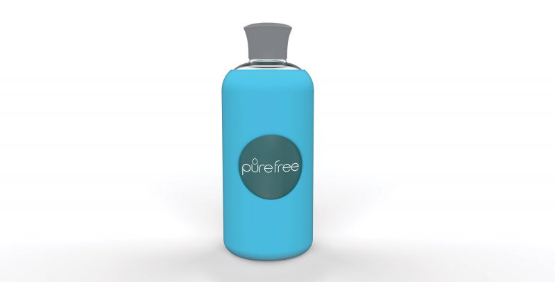 PureFree Amico Sky Blue glass water bottle